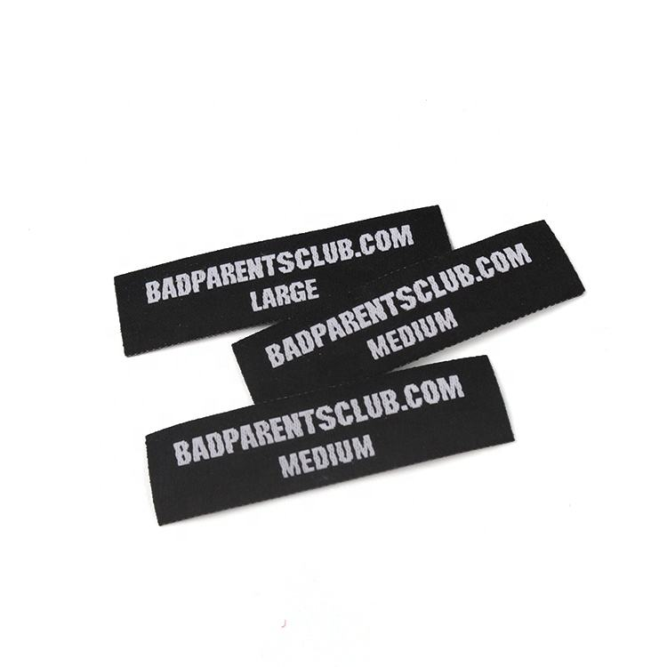 Heat Cut Shape Tags Customized Own Company Name Logo Trousers Woven Patches Badges with Iron on Back
