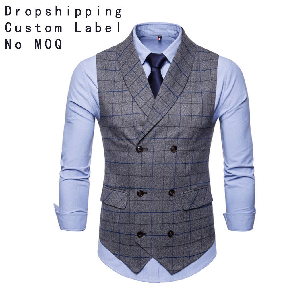 Fashion Double Breasted Tweed Mens Vest Waistcoat