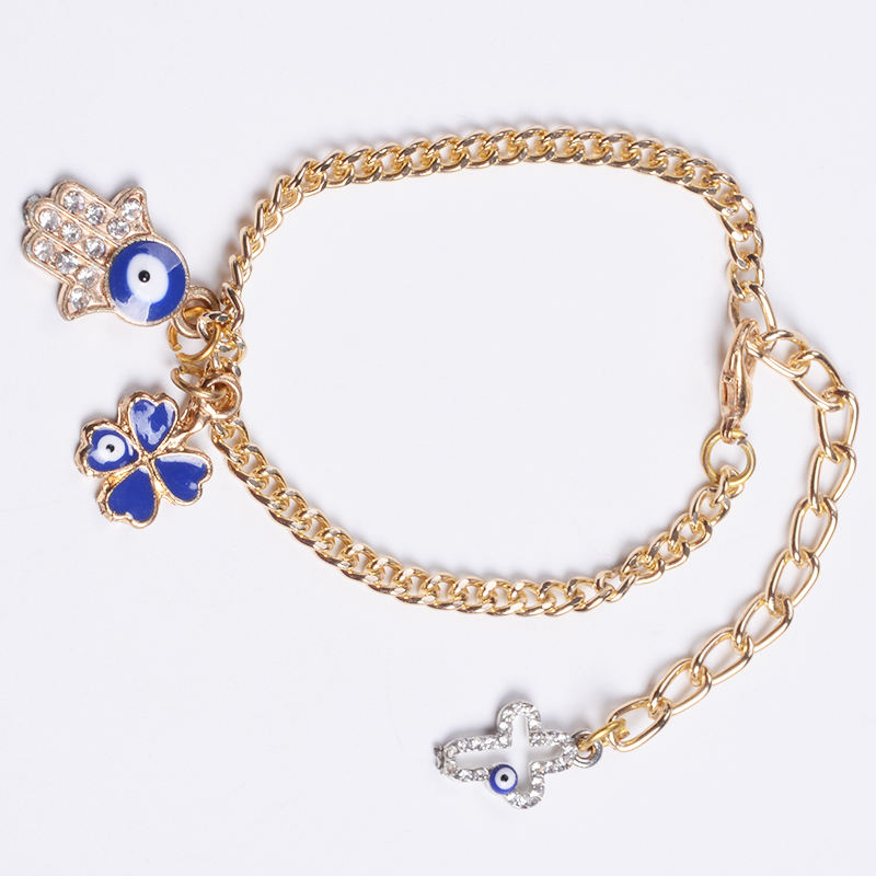 New Gold Chain Lucky Religious With Mini Cross Bangles With Evil Eye Hamsa Bracelets