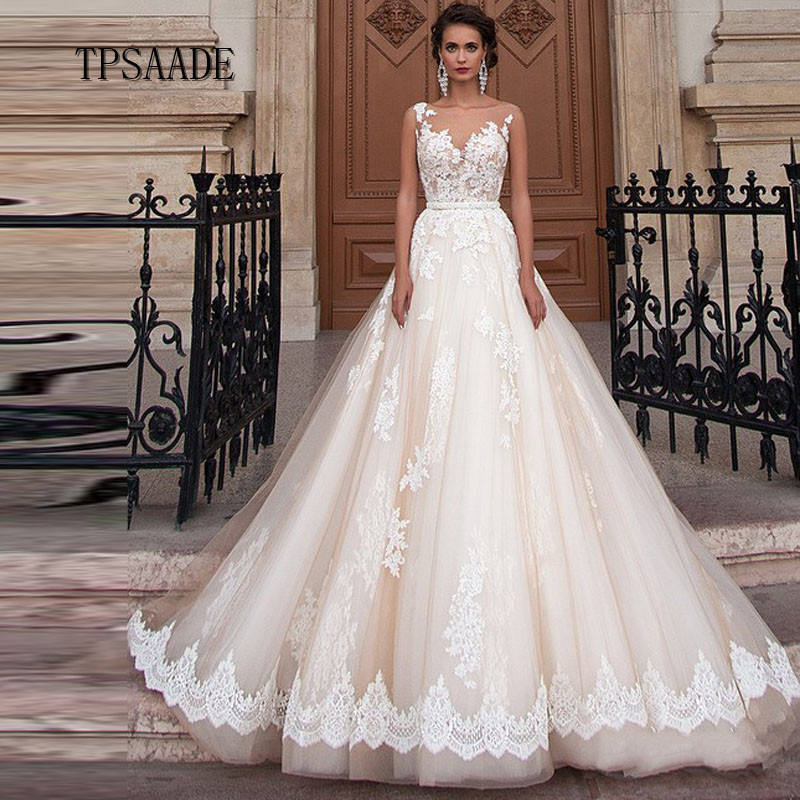 Illusion Champagne Tulle A Line Sequin Đính Cườm Wedding Dress Ren Appliques Bow Belt Bridal Gown 2020 Vestido De Novia