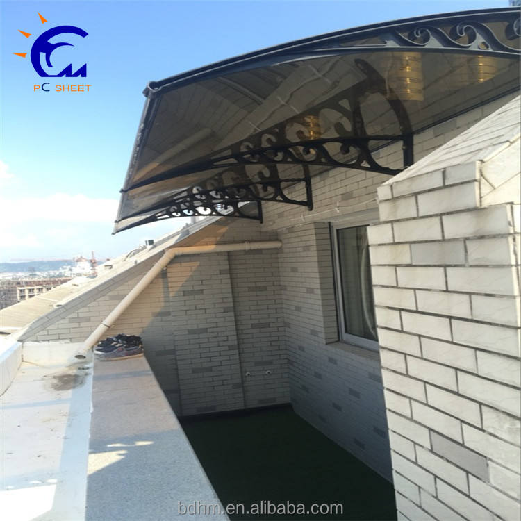 Freesky outdoor shade window/door PC canopy/awning with aluminum alloy frame 3mm pc solid sheet window outdoor canopy