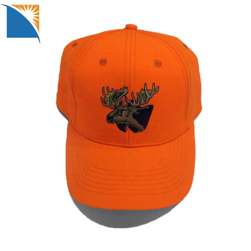 Unisex Hunting Hat Orange Custom Sports Caps with Embroidery Cotton Canvas Men's Blaze Orange Hunting Cap