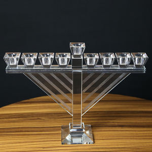 wholesale K9 high quality 9 arms tall clear glass crystal candle holders