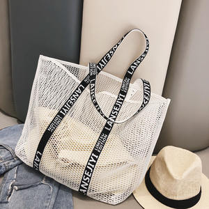 2018 Summer Fashion Print Large Mesh Tote Bag Personality Hollow Out Grid Beach Bag
