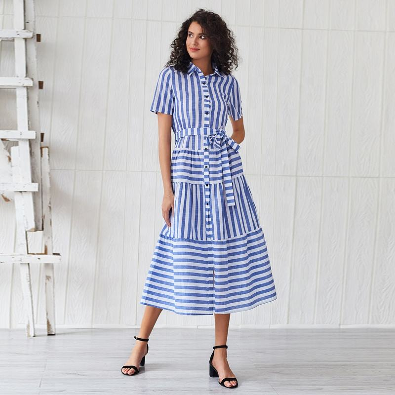 Clothes Women Casual Summer Single Breasted Long Womens Stripe Maxi Dress