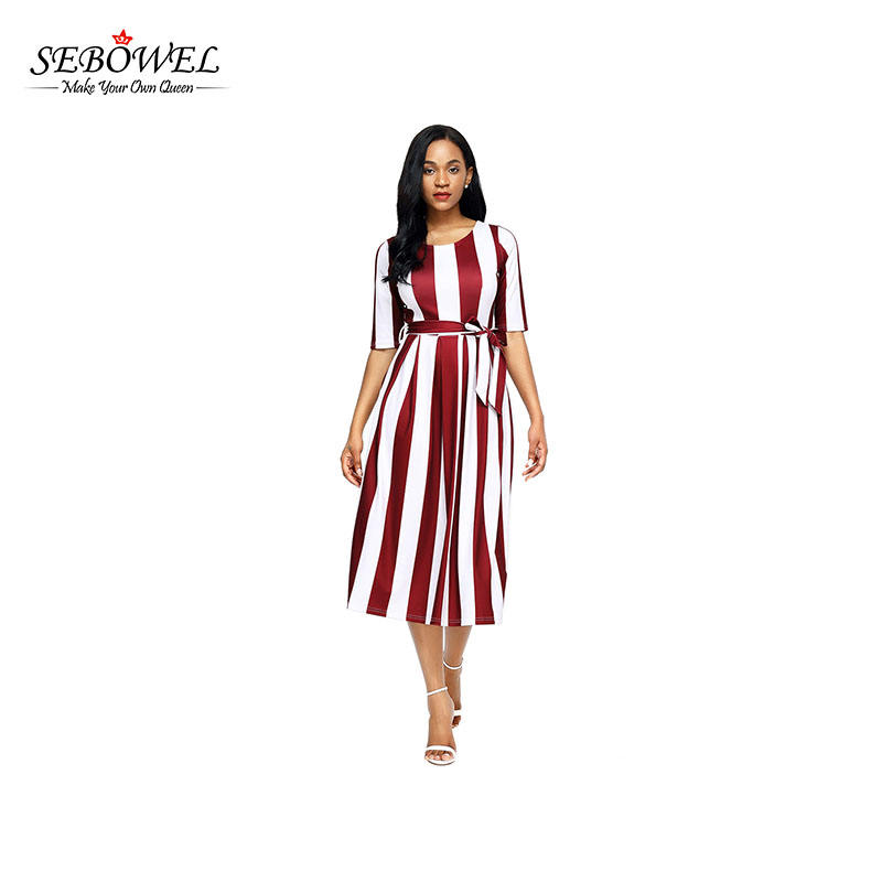 Stripe Print Half Sleeve Belted Lady Dress