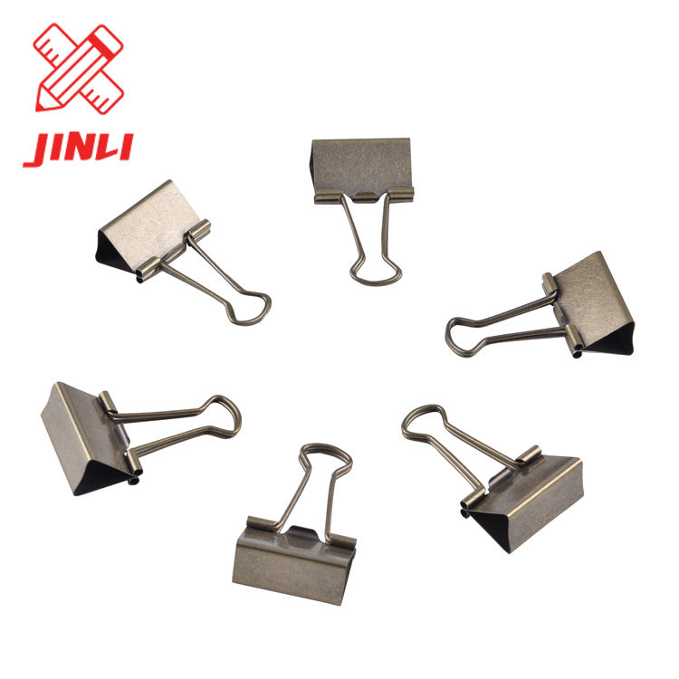 China manufacturer high quality nickel stationery paper money binder clip custom steel metal paper binder clip .