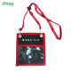 Fashion Black And Red Recycled PVC Pouch Passport Card ID Card Holder with Neck Strap Zipper Pocket for Office Employee