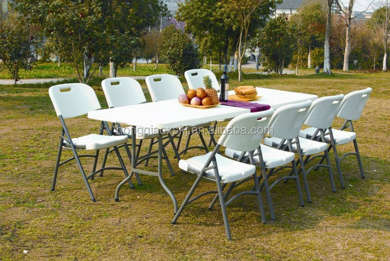 Garden furniture 8 seats portable plastic folding table for camping picnic dinning party