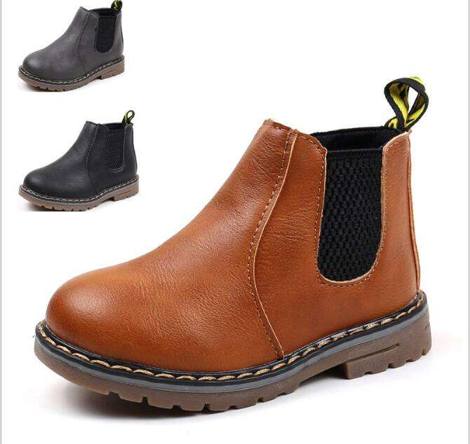 Winter British Style Leather Boots For Children Boy Shoes