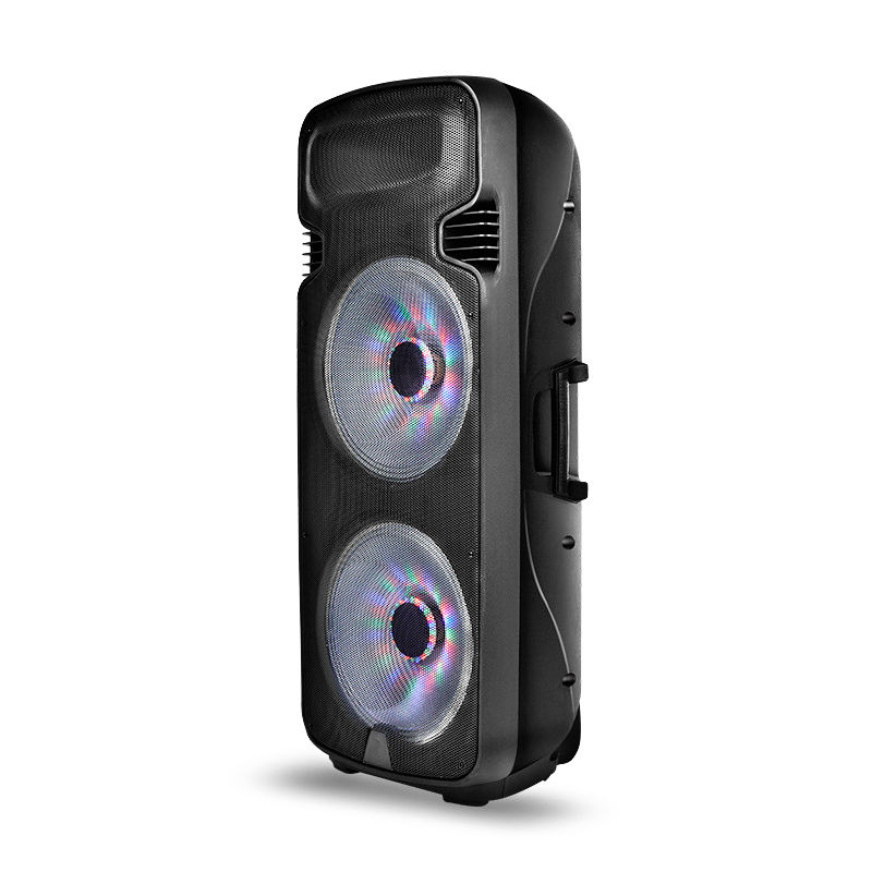 High Power Double 15 inch USB Bluetooth dj stage speaker with LED flashing Light