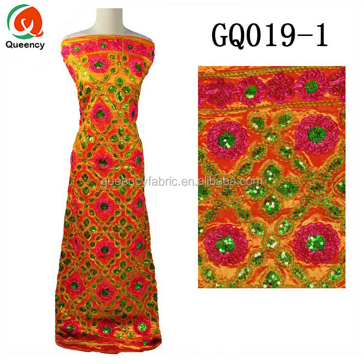 GQ019 Queency High Quality African Bridal Dress Sequence Embroidered Fabric India George Wrappers in Multi Colors