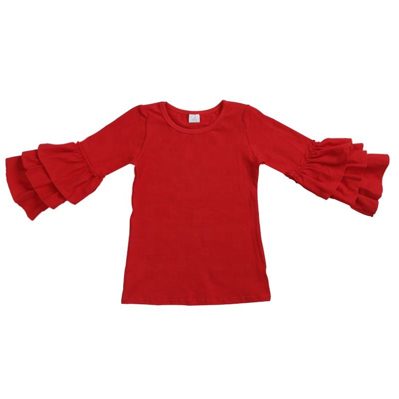 Wholesales baby children clothing solid color 긴 sleeve girls 면 톱 프릴 shirt