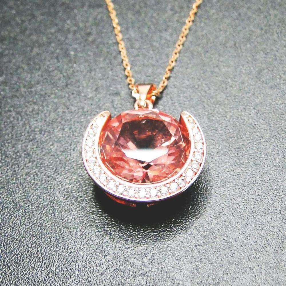 New Style Solid 925 Silver Pink Morganite & Diamond Halo 18kt Rose Gold Plating Wedding Pendant Necklace