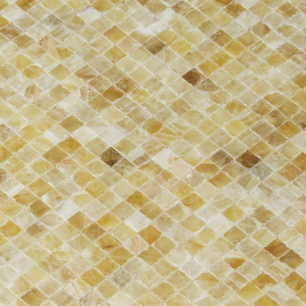 Square Honey Onyx Honed Mosaic Tiles