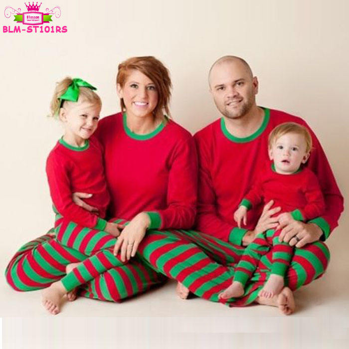 Wholesale Adults And Kids Xmas Pajamas Blank Sleepwear Set Red & Green Striped Christmas Matching Family Pajamas