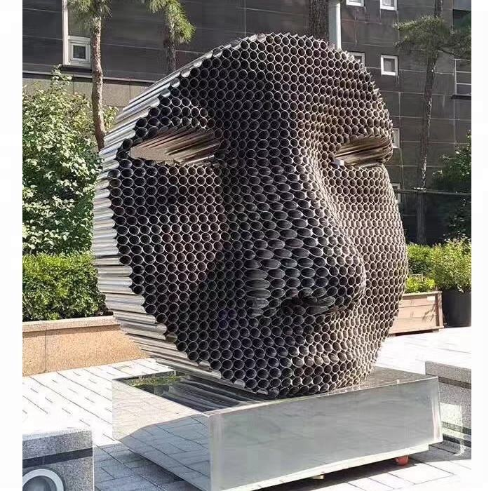 public art urban abstract metal stainless steel human face sculpture for sale
