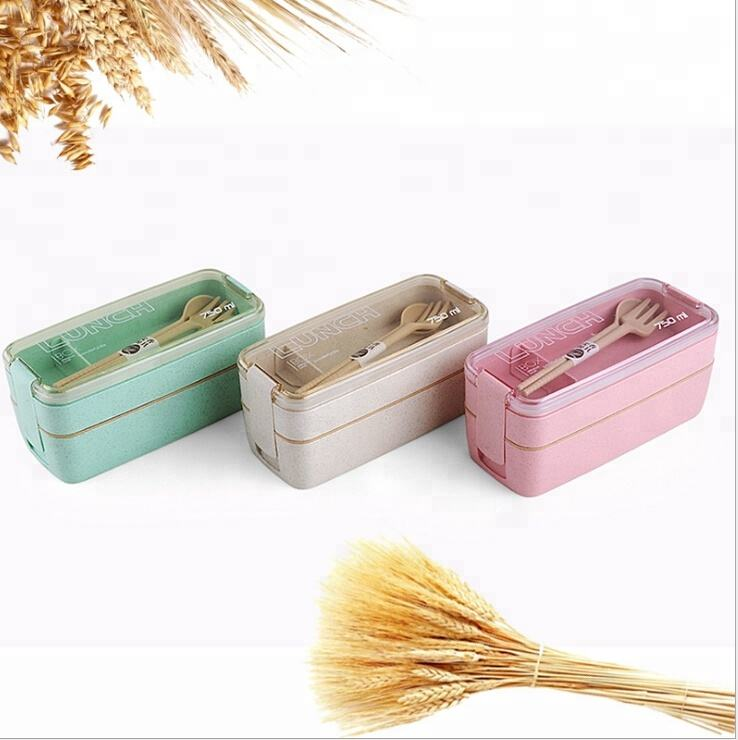 750ml 2 compartment bento box 2 layer japanese lunch box with spoon