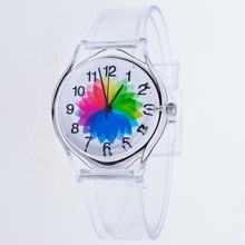 Factory Sell  Watches Children Transparent Quartz Colorful Jelly Sport Plastic Student Wrist Watch SW011