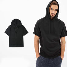 Bulk wholesale 100% cotton short sleeve t-shirt with hoody , plain t-shirt with hoody with your private label