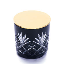 home decoration use and pineapple glass candle holder with metal lid