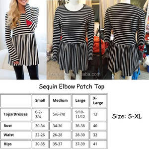 Wholesale Patch Dressy Tops Sequin Elbow Striped Tunic