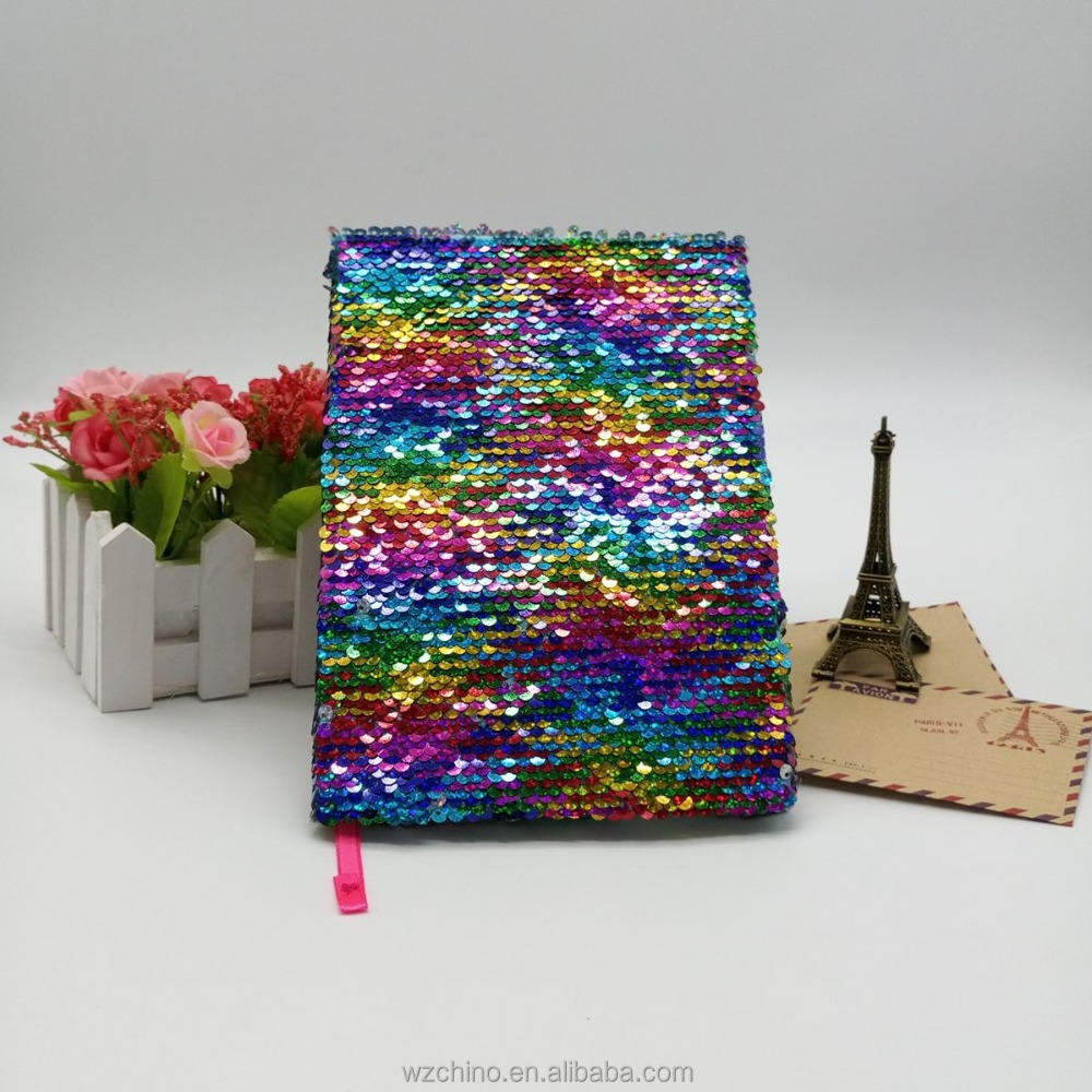 Manufacturer supply A5 rainbow sequin fabric notebook with hardcover new desgin new style