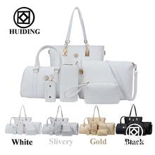 2016 Woven Bags Purse 6 in 1Set Lady Tote Designer Wholesale Woman Handbag