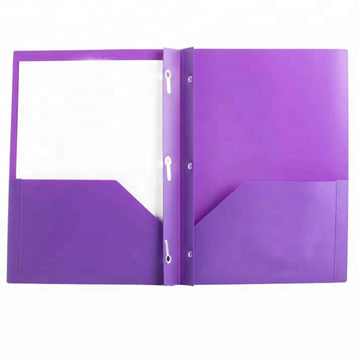 US Letter Size PP Poly Portfolio 2 Pockets Folder With 3 Prongs