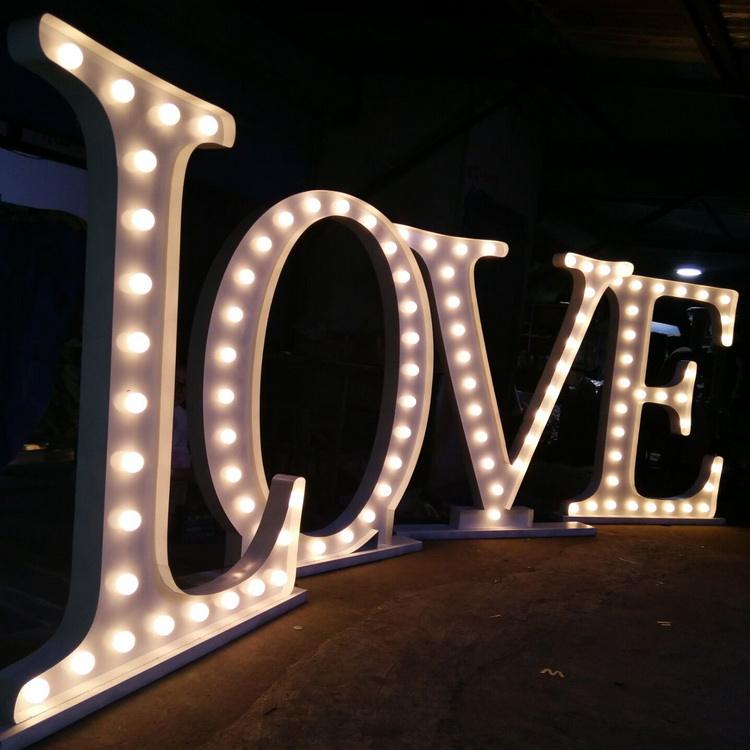 "Waterproof 4ft large illuminated wedding signage giant light up 36"" metal word signs love party event led marquee letters"