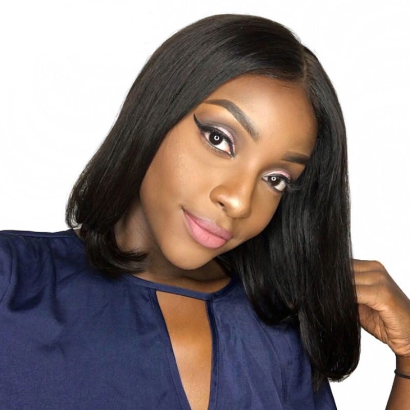 Fashion artificial 360 lace wigs for african american suna remy straight hair, hair extensions wig cap,8 inch bob wig