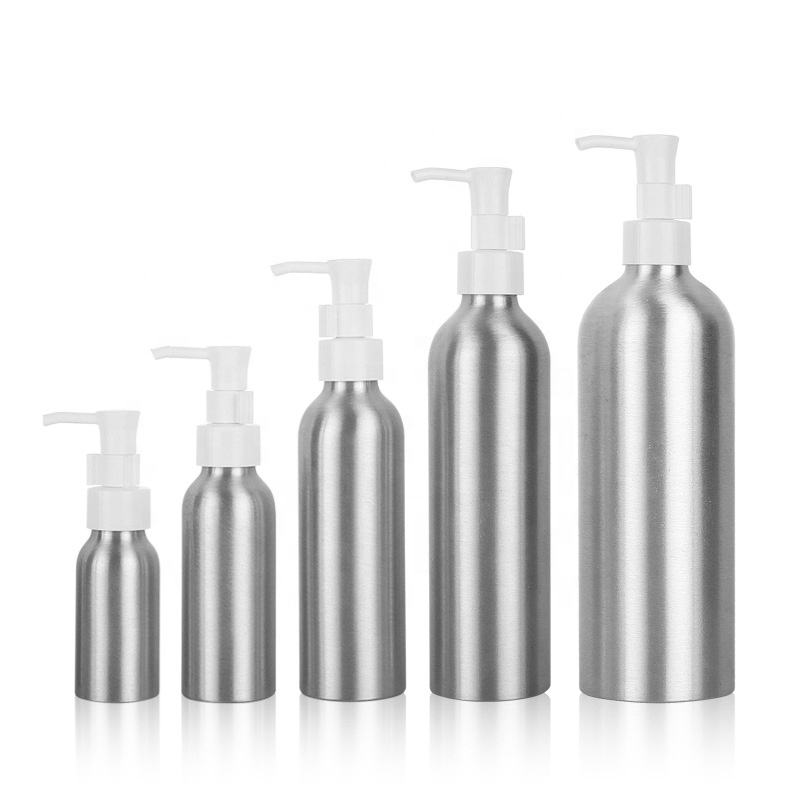hot selling 30ml 50ml 100ml 120ml 150ml 250ml 500ml aluminum cosmetic packaging bottle with press pump cap for lotion