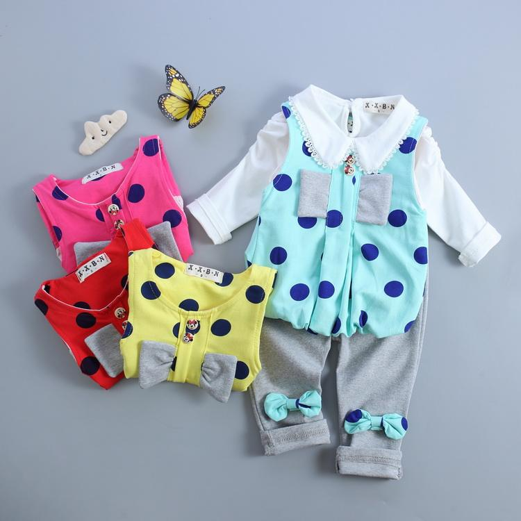 Alibaba Spring Autumn Fashion Kid Dot Clothing Set Casual Wear Custom Stock Lot