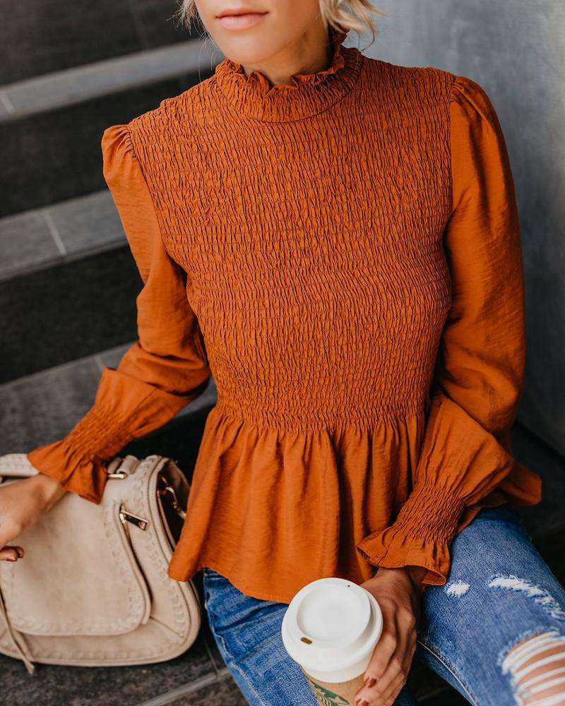 2019 Spring new arrival design women fashion smocked pullover blouse ladies puffy sleeve shirt women chiffon blouse