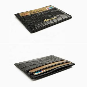 MINANDIO Guangzhou manufacture supplier high-end crocodile leather men business credit card holder