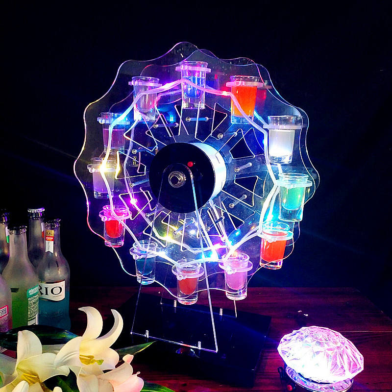 Revolving Glass Display Stand LED Ferris Wheel Shot Glass Tray Wine Rack Holder