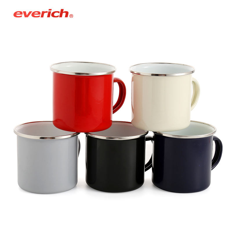 Branded enamel mug with metal rim personalized sublimation enamel milk cup