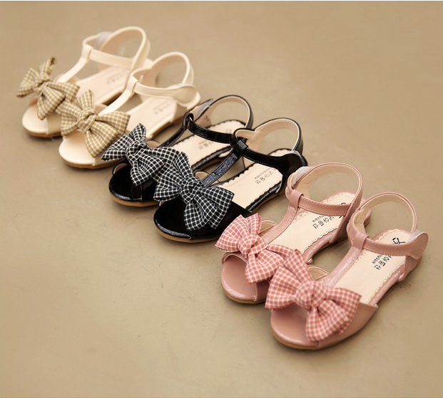 Hot sale summer children PU Leather Causal shoes Princess kids bowknot sandals