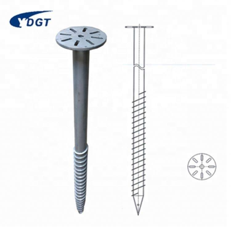 Screw Pile Mounting System Solar Adjustable Ground Pole Anchor Screw Steel Post Anchor