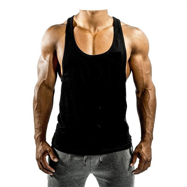 High quality cotton sport body building fitness running oem logo plain blank custom mens gym stringer tank top