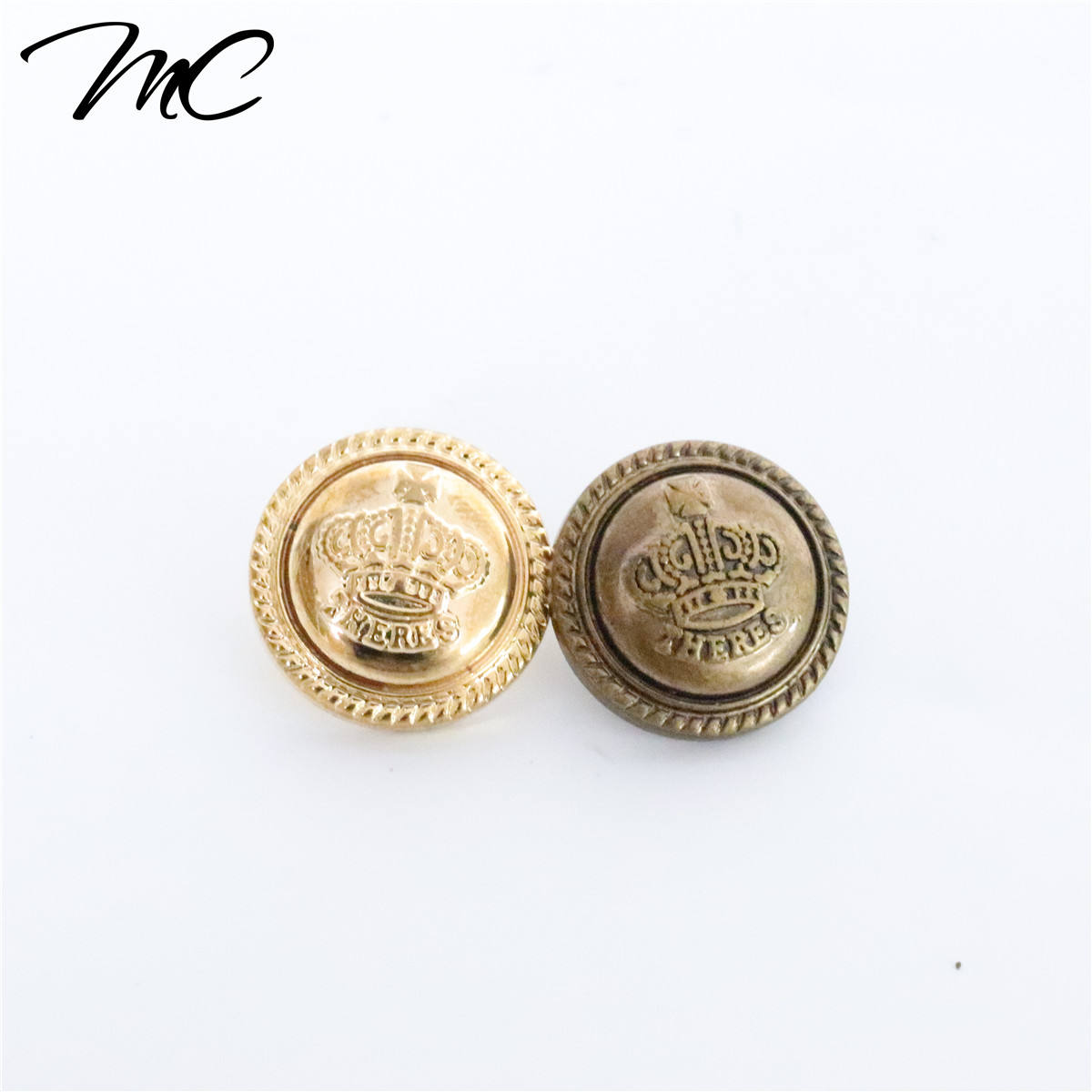 Custom Brand Logo Gold Color Plastic Coat Button For Garment /Jean/Handbag/Cap Tag