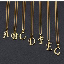 Sideways Initial 26 Alphabet Letter Necklace 18K Gold Stainless Steel Block Letter Monogram Necklace With Zircon