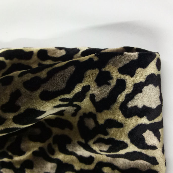 High quality Overcoat fabric textile digital Leopard printing cotton like velvet fabric