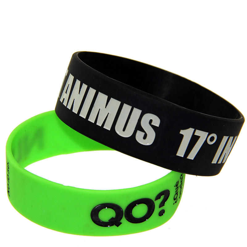 Top seller custom 1 inch silicone wristbands no minimum engraved logo rubber armband