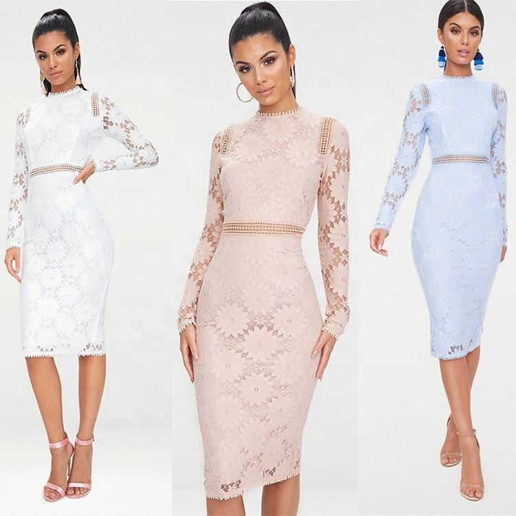 Elegant woman autumn spring wear knee length fashion women hollow out lace dress