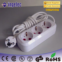 White Color German Type 3 Way Extension Socket High Quality Power Extension Socket