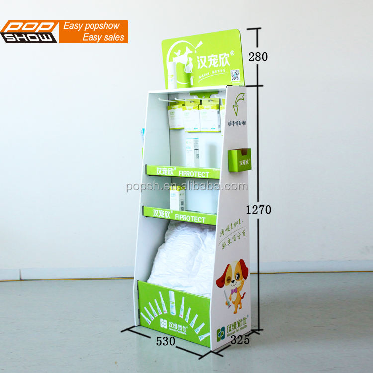 GL8103 New style hook and layer cardboard display shelf for pet food