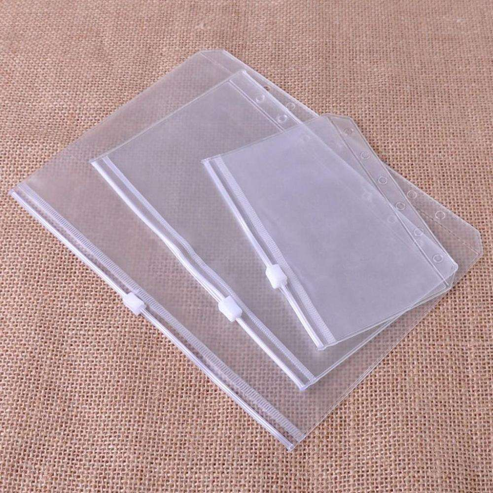 PVC Binder Pockets Zipper 6 Holes Clear Side Load Folder Office Durable Ring Bill Binder Pouch