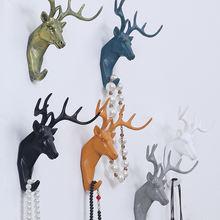 Roogo hot sale colorful resin deer head figurines wall hook for coat hanger
