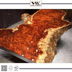 Luxury Bubinga Solid Wooden Live Edge Slab Table